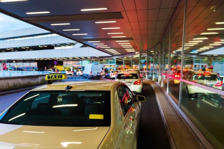 taxi waiting at airport